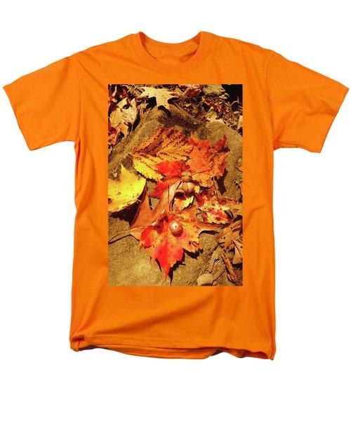 Men's T-Shirt  (Regular Fit) featuring the photograph Acorns Fall Maple Leaf by Meta Gatschenberger