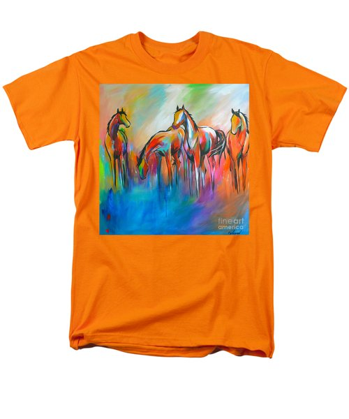 Men's T-Shirt  (Regular Fit) featuring the painting At The Pond by Cher Devereaux