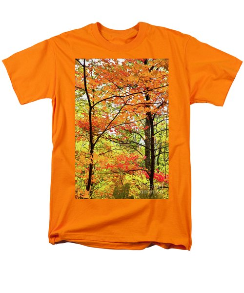 Men's T-Shirt  (Regular Fit) featuring the painting Autumn Splendor Fall Colors Leaves And Trees Ap by Dan Carmichael