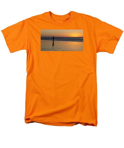 Beach Fishing At Sunset Men's T-Shirt  (Regular Fit) by Ed Clark