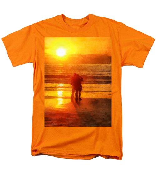 Men's T-Shirt  (Regular Fit) featuring the digital art Beach Sunrise Love by Francesa Miller