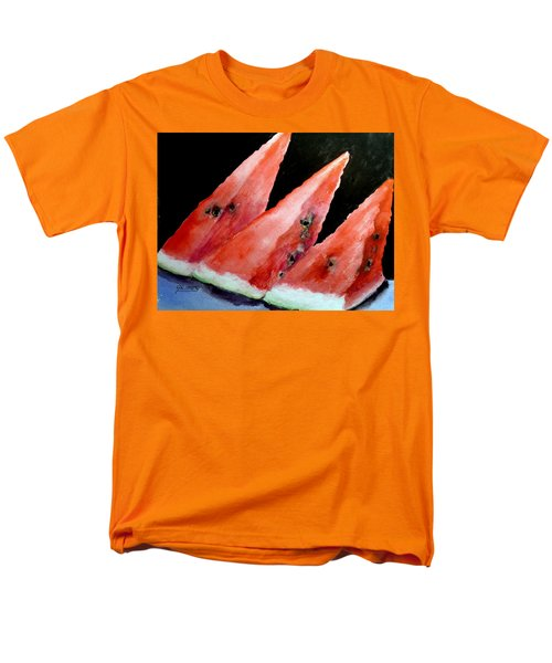 Men's T-Shirt  (Regular Fit) featuring the painting Beautiful Summer Watermelon  by Carol Grimes