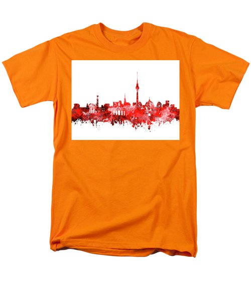 Berlin City Skyline Red Men's T-Shirt  (Regular Fit) by Bekim Art