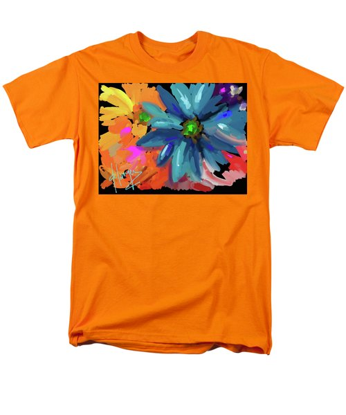 Men's T-Shirt  (Regular Fit) featuring the painting Big Blue Flower by DC Langer