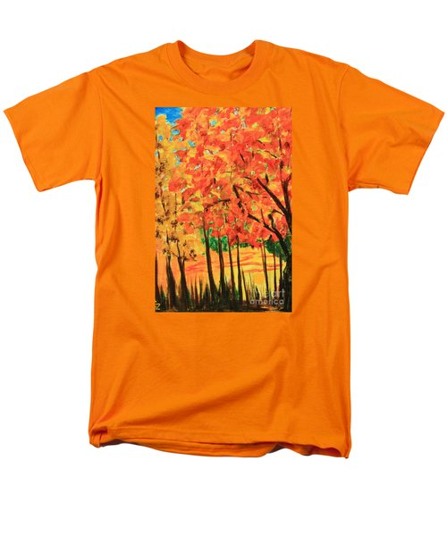 Men's T-Shirt  (Regular Fit) featuring the painting Birch Tree /autumn Leaves by Nancy Czejkowski
