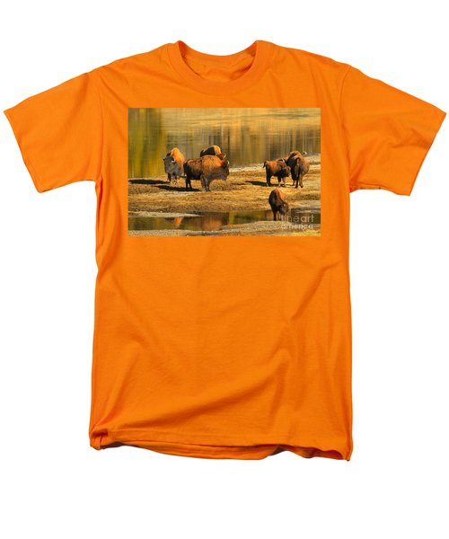 Men's T-Shirt  (Regular Fit) featuring the photograph Bison Family Crossing by Adam Jewell