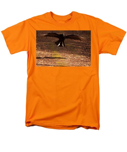 Men's T-Shirt  (Regular Fit) featuring the digital art Black Vulture Landing by Chris Flees