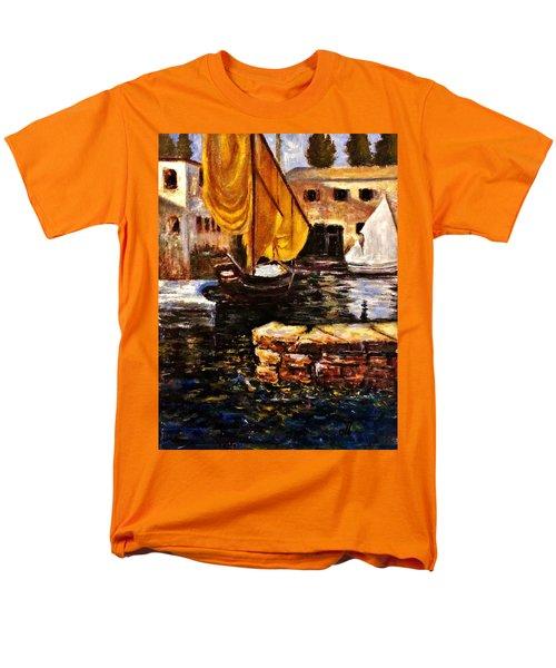 Boat With Golden Sail,san Vigilio  Men's T-Shirt  (Regular Fit)