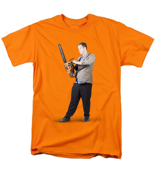 Businessman Holding Portable Chainsaw Men's T-Shirt  (Regular Fit) by Jorgo Photography - Wall Art Gallery