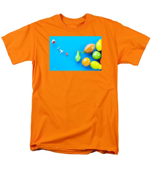Men's T-Shirt  (Regular Fit) featuring the painting Chef Tumbled In Front Of Colorful Tomatoes II Little People On Food by Paul Ge