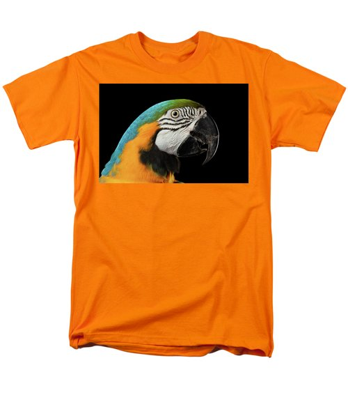Closeup Portrait Of A Blue And Yellow Macaw Parrot Face Isolated On Black Background Men's T-Shirt  (Regular Fit) by Sergey Taran