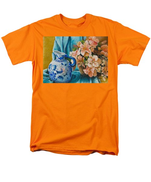 Men's T-Shirt  (Regular Fit) featuring the painting Delft Pitcher With Flowers by Marlene Book