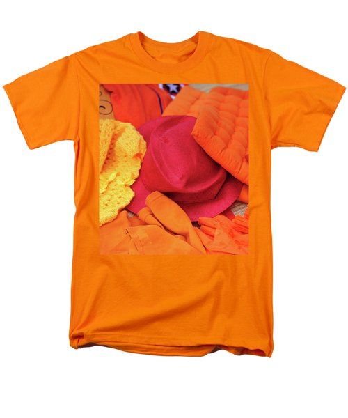 Men's T-Shirt  (Regular Fit) featuring the photograph Display Of Orange And Red Clothing by Jenny Rainbow
