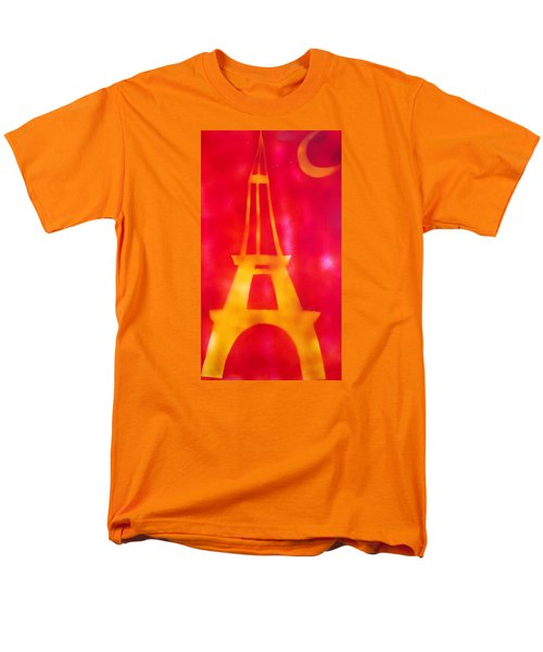 Men's T-Shirt  (Regular Fit) featuring the painting Eiffel Tower Yellow Glowing by Don Koester