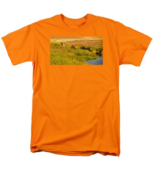 Men's T-Shirt  (Regular Fit) featuring the photograph Elk In The Wild Flowers by Cathy Donohoue