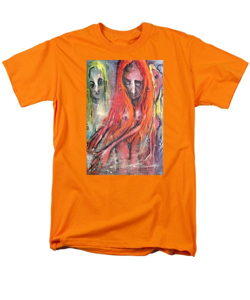 Men's T-Shirt  (Regular Fit) featuring the painting Emerging Reminders In Swamp Vapor by Kenneth Agnello