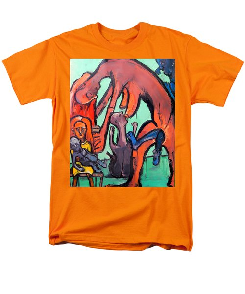 Men's T-Shirt  (Regular Fit) featuring the painting Evolution Stuck - Fertility by Kenneth Agnello