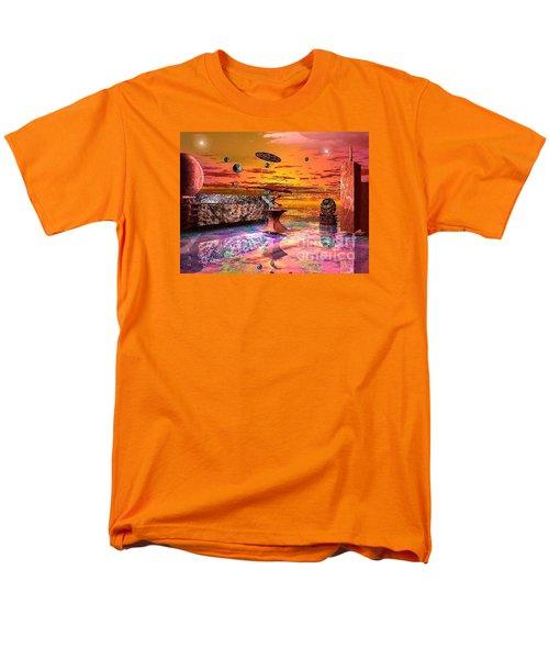 Men's T-Shirt  (Regular Fit) featuring the digital art Future Horizions Firey Sunset by Jacqueline Lloyd