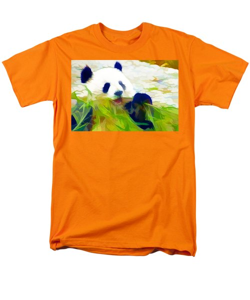 Men's T-Shirt  (Regular Fit) featuring the painting Giant Panda Bear Eating Bamboo by Lanjee Chee