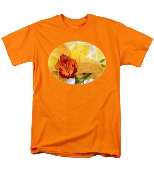 Golden Cymbidium Orchid Men's T-Shirt  (Regular Fit) by Gill Billington