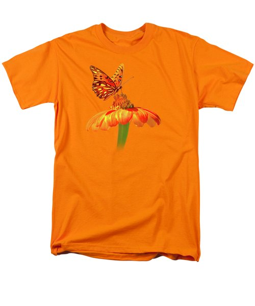 Men's T-Shirt  (Regular Fit) featuring the photograph Gulf Fritillary Landing by Mark Andrew Thomas