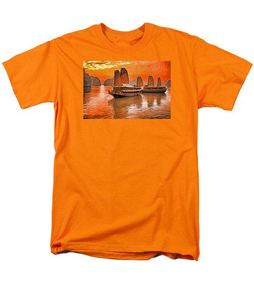Men's T-Shirt  (Regular Fit) featuring the photograph Halong Bay Junks by Dennis Cox WorldViews