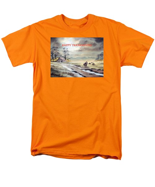 Men's T-Shirt  (Regular Fit) featuring the painting Happy Thanksgiving  by Bill Holkham