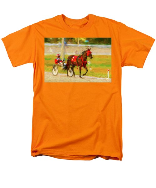 Horse, Harness And Jockey Men's T-Shirt  (Regular Fit) by Les Palenik