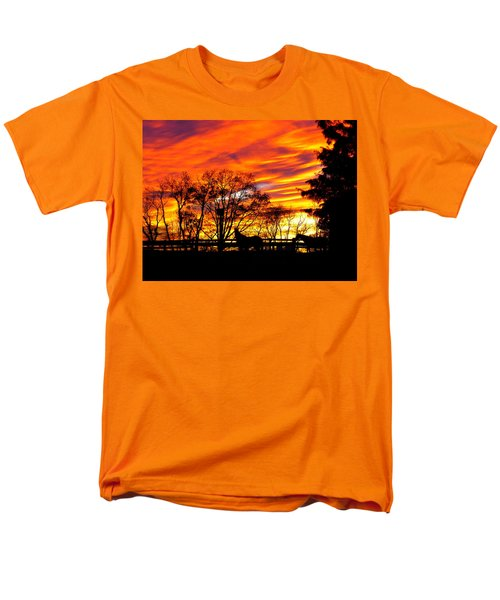 Men's T-Shirt  (Regular Fit) featuring the photograph Horses And The Sky by Donald C Morgan