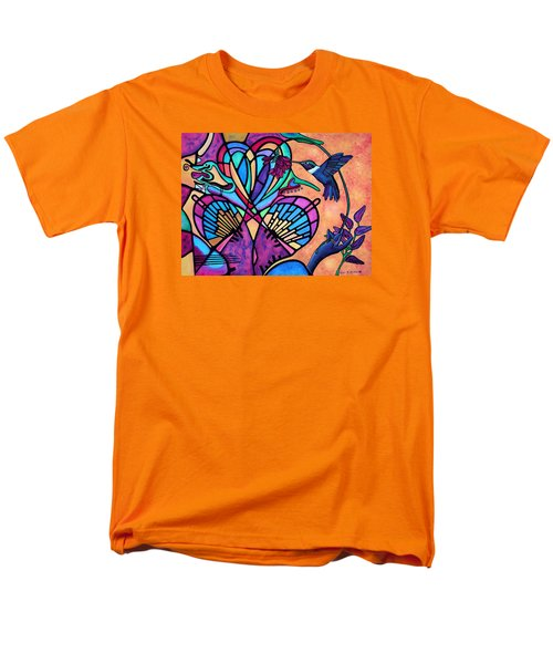 Men's T-Shirt  (Regular Fit) featuring the painting Hummingbird And Stained Glass Hearts by Lori Miller