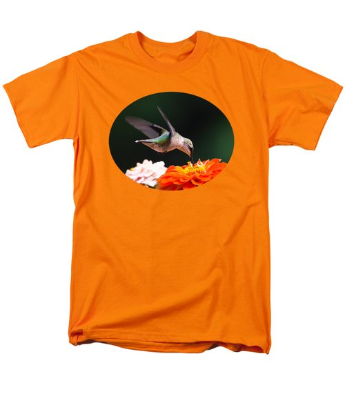 Hummingbird In Flight With Orange Zinnia Flower Men's T-Shirt  (Regular Fit) by Christina Rollo