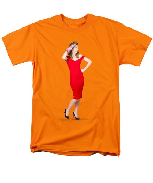 Isolated Female Pin Up Cook On Stove Watch Men's T-Shirt  (Regular Fit)