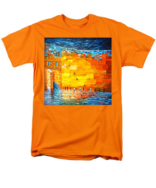 Men's T-Shirt  (Regular Fit) featuring the painting Jerusalem Wailing Wall Original Acrylic Palette Knife Painting by Georgeta Blanaru