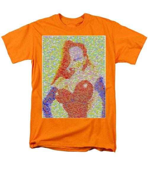 Men's T-Shirt  (Regular Fit) featuring the mixed media Jessica Rabbit Pez Mosaic by Paul Van Scott