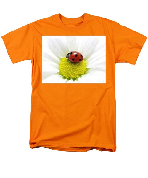 Ladybug On White Daisy Men's T-Shirt  (Regular Fit) by Anthony Fishburne