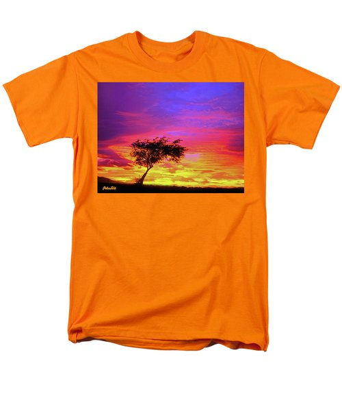 Leaning Tree At Sunset Men's T-Shirt  (Regular Fit) by Bob and Nadine Johnston