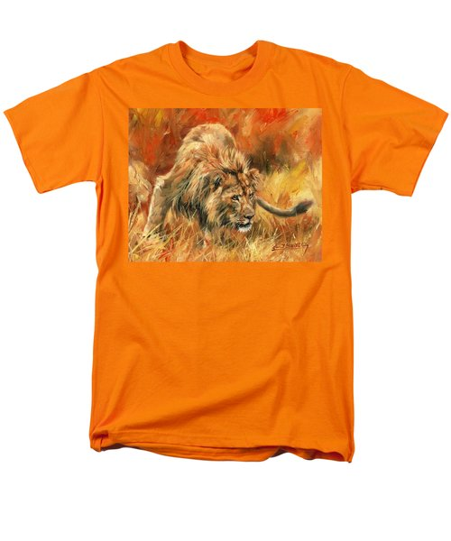 Men's T-Shirt  (Regular Fit) featuring the painting Lion Alert by David Stribbling