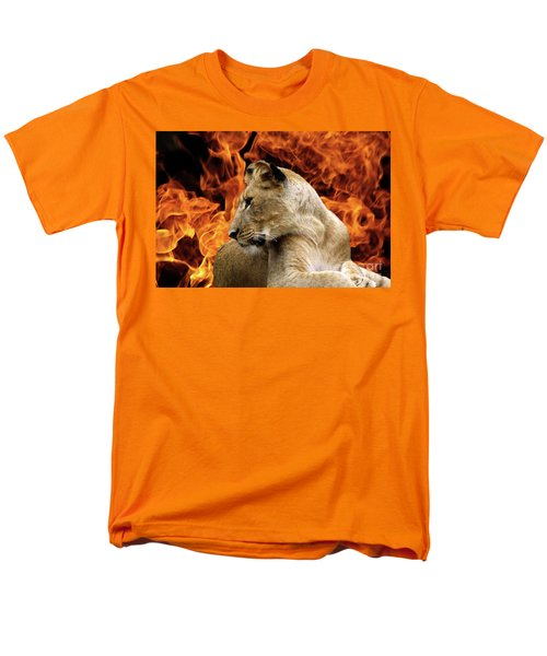 Lion And Fire Men's T-Shirt  (Regular Fit) by Inspirational Photo Creations Audrey Woods