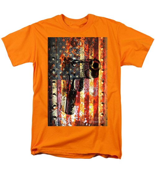 M1911 Silhouette On Rusted American Flag Men's T-Shirt  (Regular Fit) by M L C