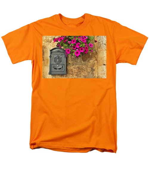 Mailbox With Petunias Men's T-Shirt  (Regular Fit) by Silvia Ganora