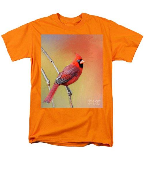 Male Cardinal Perched Men's T-Shirt  (Regular Fit) by Myrna Bradshaw