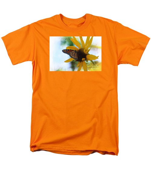 Men's T-Shirt  (Regular Fit) featuring the photograph Monarch With Sunflower by Yumi Johnson