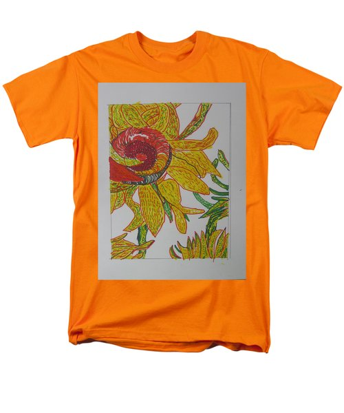 Men's T-Shirt  (Regular Fit) featuring the drawing My Version Of A Van Gogh Sunflower by AJ Brown