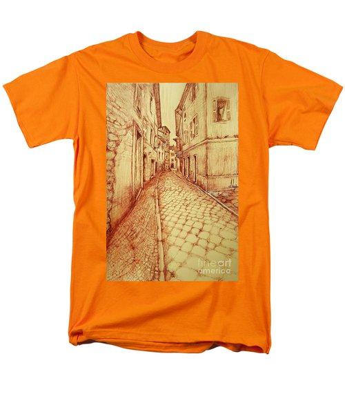 Men's T-Shirt  (Regular Fit) featuring the drawing Narrow Street Of Lovere Italy by Maja Sokolowska