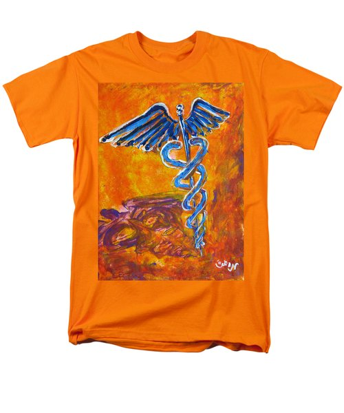 Men's T-Shirt  (Regular Fit) featuring the painting Orange Blue Purple Medical Caduceus Thats Atmospheric And Rising With Mystery by M Zimmerman