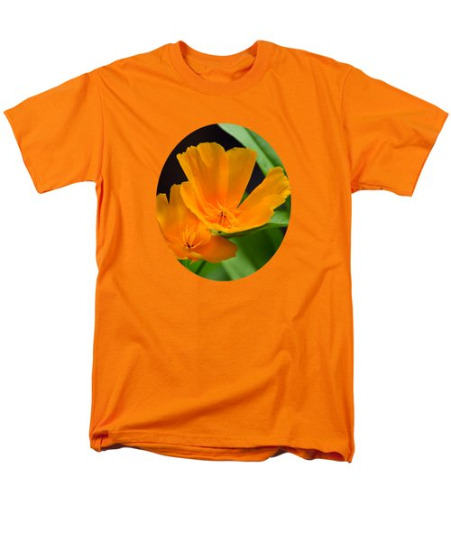 Orange California Poppies Men's T-Shirt  (Regular Fit) by Christina Rollo