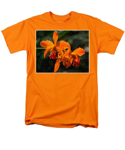 Men's T-Shirt  (Regular Fit) featuring the digital art Orange Cattleya Orchid by Kai Saarto