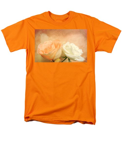 Pale Peach And White Roses Men's T-Shirt  (Regular Fit) by Marsha Heiken