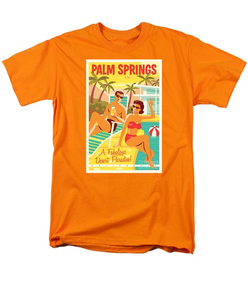 Palm Springs Retro Travel Poster Men's T-Shirt  (Regular Fit) by Jim Zahniser