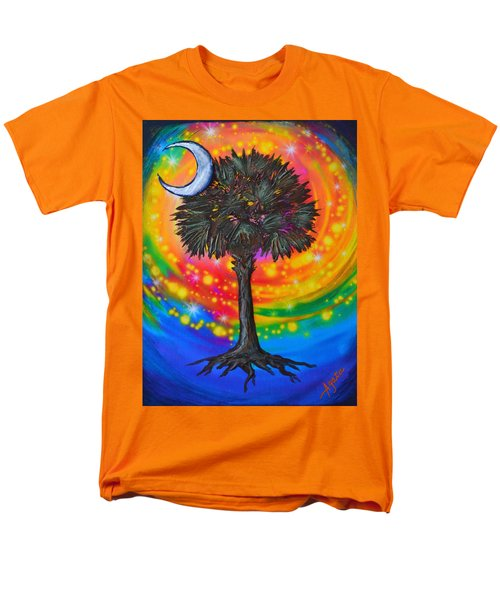Men's T-Shirt  (Regular Fit) featuring the painting Palmetto Tree Of Life by Agata Lindquist